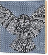 Owl In Flight Bubbles Wood Print