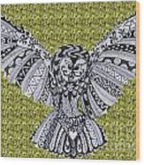 Owl In Flight Green Wood Print