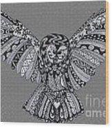 Owl In Flight Grey Wood Print
