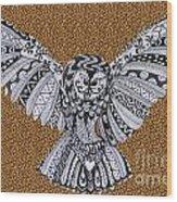 Owl In Flight Leopard Wood Print
