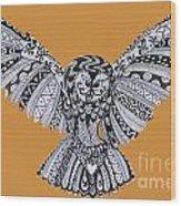 Owl In Flight Orange Wood Print
