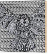 Owl In Flight Pattern Wood Print