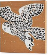 Owl In Gold Sky Wood Print