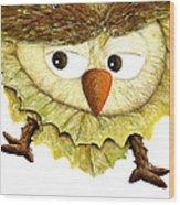 Owl Leaf 3 Wood Print