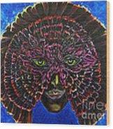 Owl Mask Self Portrait Wood Print