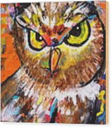 Owl With An Attitude Wood Print