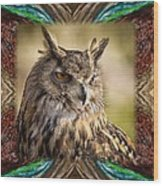 Owl With Collage Border Wood Print