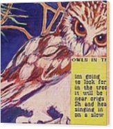 Owls In The Trees Wood Print