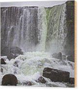 Oxarafoss Waterfall Wood Print