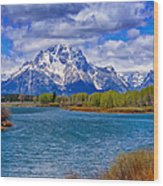Oxbow Bend In Spring Wood Print
