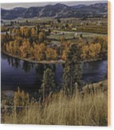 Oxbow Bend In The Wenatchee River Wood Print