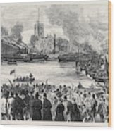 Oxford And Cambridge Universities Boat Race The Start Wood Print
