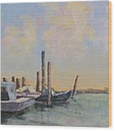Oyster Boat Evening Wood Print by Susan Richardson