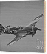 P-40 Warhawk Bw Wood Print