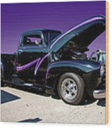 P P - Purple Pickup Wood Print
