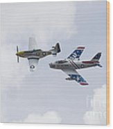 P51 And F86 Heritage Flight Wood Print