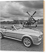 P51 Meets Eleanor In Black And White Wood Print