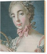 Head Of Flora Wood Print by Francois Boucher