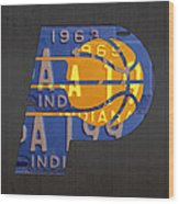 Pacers Basketball Team Logo Vintage Recycled Indiana License Plate Art Wood Print