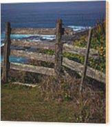 Pacific Coast Fence Wood Print