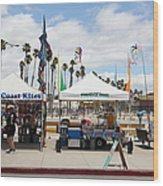 Pacific Coast Kites And Paradise Dogs On The Municipal Wharf At The Santa Cruz Beach Boardwalk Calif Wood Print
