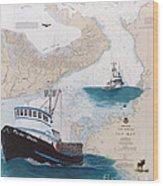 Pacific Dream Crab Fishing Boat Nautical Chart Art Wood Print