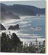 Pacific Mist Wood Print by Karen Wiles