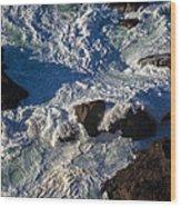Pacific Ocean Against Rocks Wood Print