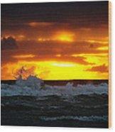 Pacific Sunset Drama Wood Print