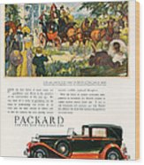 Packard 1930 1930s Usa Cc Cars Horses Wood Print
