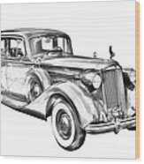 Packard Luxury Antique Car Illustration Wood Print