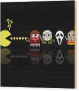 Pacman Horror Movie Heroes Wood Print by NicoWriter