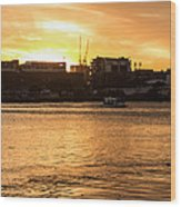 Paddle By The Sunset Wood Print