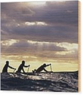 Paddlers Silhouetted Wood Print
