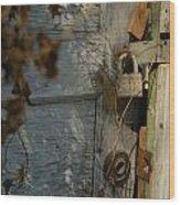 padlocked old wood door abandoned Streetman Texas Wood Print