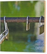 Padlocks Wood Print by Victoria Herrera