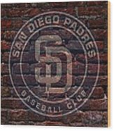 Padres Baseball Graffiti On Brick  Wood Print by Movie Poster Prints