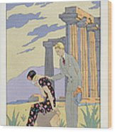 Paestum Wood Print by Georges Barbier