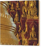 Pagoda And Buddhist Statues Wood Print