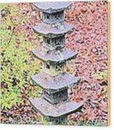 Pagoda In Autumn Wood Print