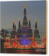Pagoda Lantern Made With Porcelain Dinnerware At Sunset Wood Print