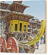Pagoda-style Carriage In Bhaktapur Durbar Square In Bhaktapur-nepal Wood Print