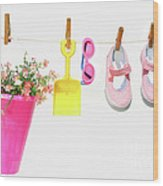 Pail And Shoes On White Wood Print by Sandra Cunningham