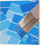 Paint Brush - Blue Wood Print