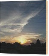 Paint Brush Sunset Wood Print