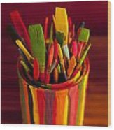 Paint Can And Paint Brushes Still Life Wood Print