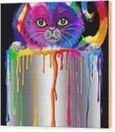 Paint Can Cat Wood Print