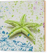 Paint Spattered Star Fish Wood Print