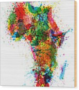 Paint Splashes Map Of Africa Map Wood Print by Michael Tompsett