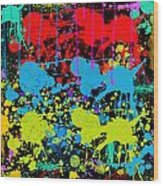 Paint Splatter - Black Wood Print